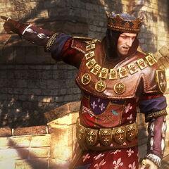 Фольтест, король Темерии, князь Соддена, правитель Понтарии, сюзерен Махакама и сеньор-протектор Бругге, Ангрена, Заречья и Элландера.