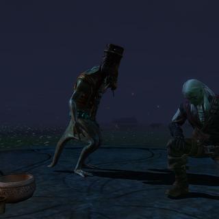 Геральт преклоняет колени перед статуей Владычицы