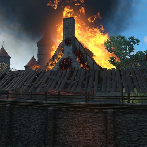 Пожар в казармах охотников