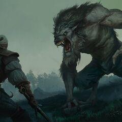 Геральт сражается с волколаком, фан-арт