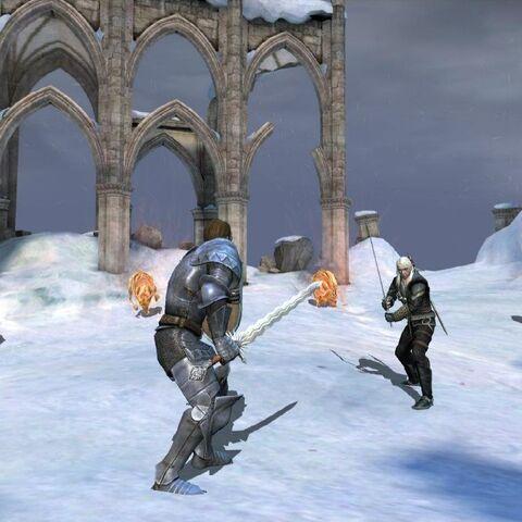 Великий магистр, вооруженный Ard'aenye, готовится к бою с Геральтом