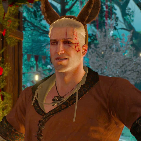 Геральт-Витольд с ослиными ушами на голове