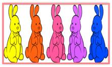 Chocolate Bunnies Colorful Five Metal Frame