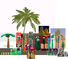VeggieTales Inspiration Animation & YouTube Poop VeggieTales 12 Stories In One And Blender Palm Tree 3D Model Blend