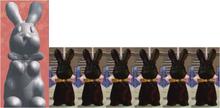 Gray Bunnies And Six Chocolate Bunny