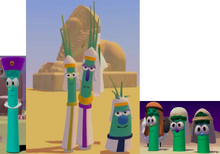 Archibald Asparagus As King Darius The Scallions As Phapon Model Sheep As Himself And The Three Brother Asparagus As Themselves Model VeggieTales