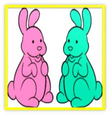 2 Chocolate Bunnies Colorful Metal Frame