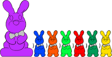 Chocolate Bunnies Colorful Seven