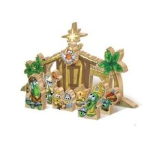 Veggie Tales Wooden Nativity Set Free Shipping