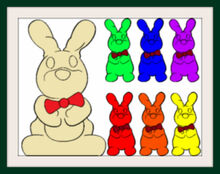 Seven Chocolate Bunny Colorful Frames