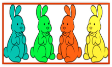 4 Chocolate Bunnies Colorful Metal Frame