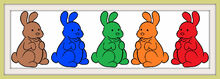 Five Chocolate Bunnies Colorful Frames
