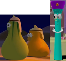 Jerry Gourd As Dave's Brother Jimmy Gourd As Another Brother & Archibald Asparagus As King Darius Model