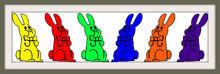 Six Chocolate Bunnies Bow Colorful Frames