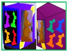 Chocolate Bunny Purple Box Two Metal Frame