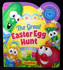 VeggieTales The Great Easter Egg Hunt Board Book with Music Push Button NEW