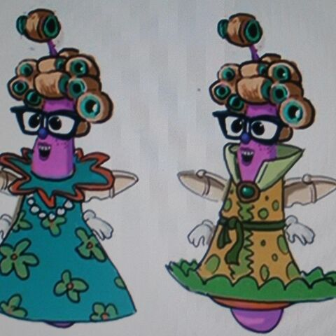 Concept art for Snoodlerella (wearing various dresses) in <i>
