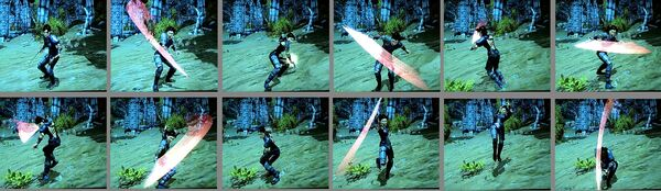 Combination attack sequence Moonblade horizontal2rows