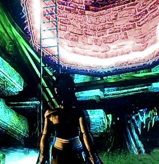 Scarlett by Well Ladder inner city catacombs