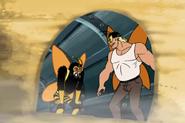 Russian Guyovitch and Brock at door of Cocoon