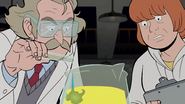 Scientist and Andy stare at beaker