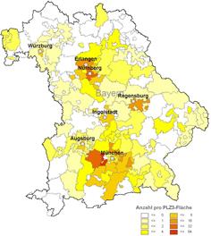 Karte Bayern gelb