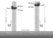 World Trade Center 9-11 Attacks Illustration with Vertical Impact Locations
