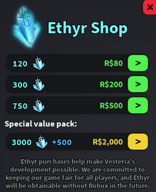 Ethyr shop