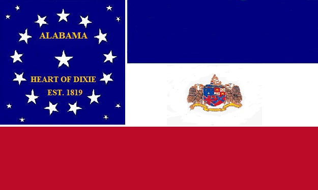 File:Alabama State Flag 22 Star Blue White and Red Bars Heart of Dixie State Flag Proposal Designed By Stephen R Barlow 762014.jpg