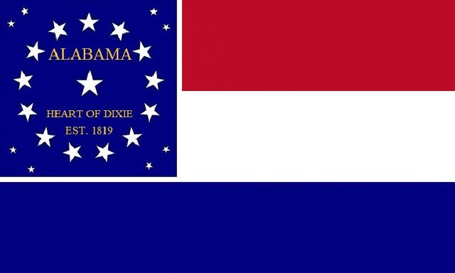File:Alabama State Flag Proposal Scarlet White and Blue Stars and Bars of The Heart of Dixie 1819 Designed By Stephen Richard Barlow 07182014.jpg