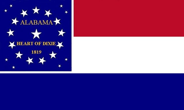 File:Alabama State Flag Proposal Red White and Blue Heart of Dixie 1819 Stars and Bars Designed By Stephen Richard Barlow 7192014.jpg