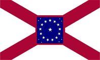 Alabama State Flag Proposal St Andrews Cross Concept with 22 Star Medallion Pattern Crimson Boarder Centered Designed By Stephen Richard Barlow 29 July 2014