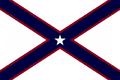 Alabama State Flag Proposal St Andrews Cross Concept 5pt Republic Star Centered over Dark Blue over Crimson Cross Designed By Stephen Richard Barlow 28 July 2014.png