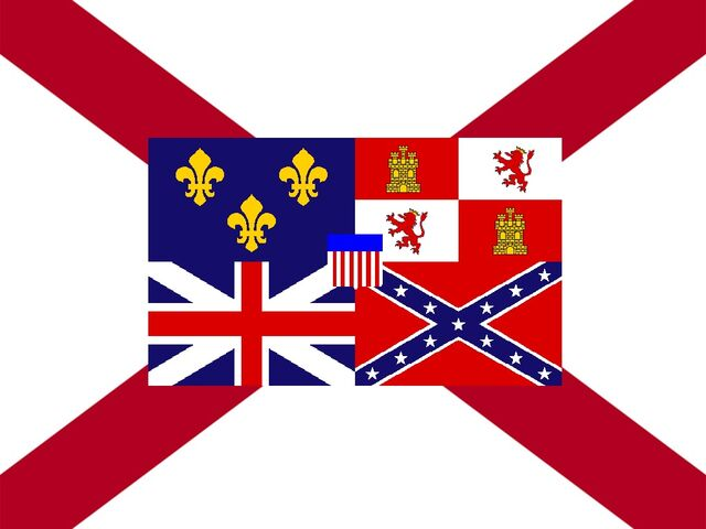 File:Alabama State Flag Proposal St Andrews Cross Concept with Flags flown over Alabama Centered Designed By Stephen Richard Barlow 29 July 2014.jpg