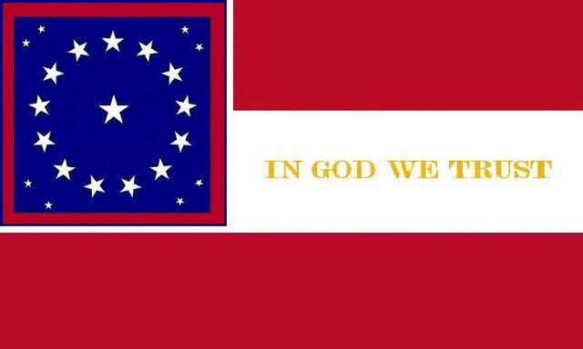 File:Alabama State Flag Proposal 22 Star Medallion Pattern Gold IN GOD WE TRUST Stars and Bars Concept Designed By Stephen Richard Barlow 29 July 2014.jpg