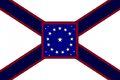 Alabama State Flag Proposal St Andrews Cross Concept 22 Star Medallion Pattern Centered over Dark Blue over Crimson Cross Designed By Stephen Richard Barlow 29 July 2014.jpg