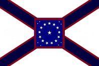 Alabama State Flag Proposal St Andrews Cross Concept 22 Star Medallion Pattern Centered over Dark Blue over Crimson Cross Designed By Stephen Richard Barlow 29 July 2014