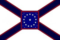 Alabama State Flag Proposal St Andrews Cross Concept 22 Star Medallion Pattern Centered over Dark Blue over Crimson Cross Designed By Stephen Richard Barlow 29 July 2014