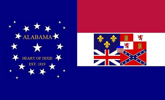 File:Alabama State Flag Proposal 22 Star Medallion Red White and Blue Bars Heart of Dixie State Flag No 4 Designed By Stephen R Barlow 2 Aug 2014.jpg