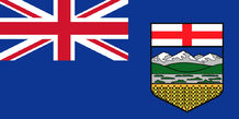 Alberta flag with the Union Jack flag