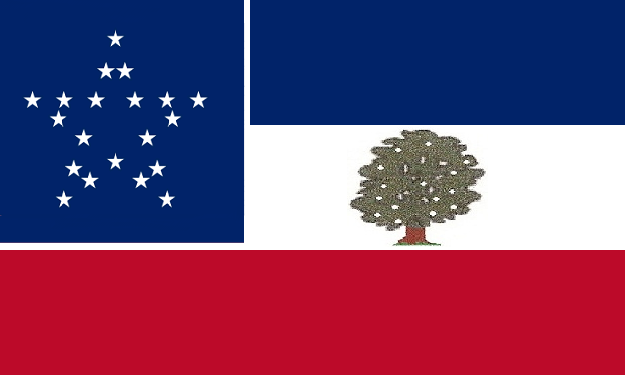 File:Mississippi State Flag Proposal 20 star Great Star Canton as Miss 20th state Magnolia Tree center White Bar Designed By Stephen R Barlow 3 Aug 2014.png