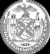 Seal of New York City BW