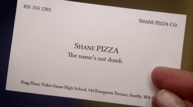 image shane pizza business card video game high school