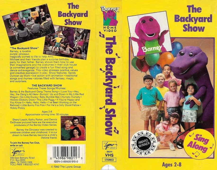 Barney: The Backyard Show VHS 1992 | Vhs and DVD Credits ...