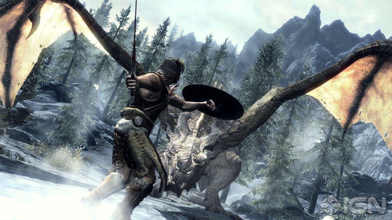 The Elder Scrolls V Skyrim - Fighting an Elder Dragon