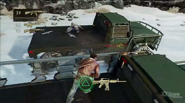 Uncharted 2 Among Thieves PlayStation 3 Gameplay - Crazy Car Chase In The Snow
