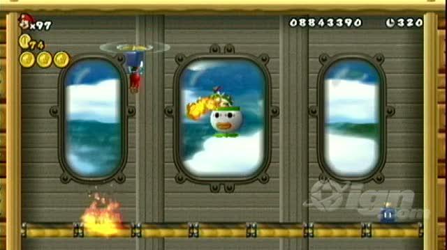 New Super Mario Bros. Wii Nintendo Wii Guide-Walkthrough - Walkthrough World 4-Air Ship Bowser Jr