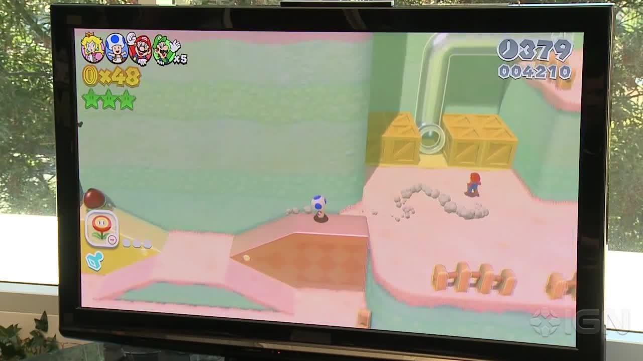Super Mario 3D World Gameplay Double Cherry Pass (Multiplayer)