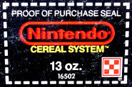Nintendo Cereal System Proof Of Purchase Seal