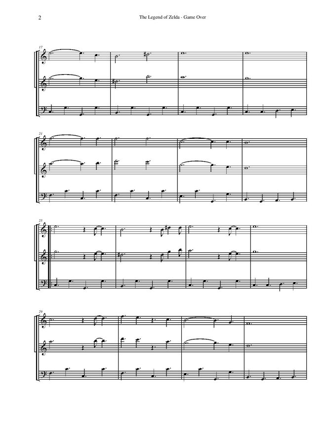 All Music Chords star wars sheet music : The Legend of Zelda - Game Over | Video Game Sheet Music Wiki ...